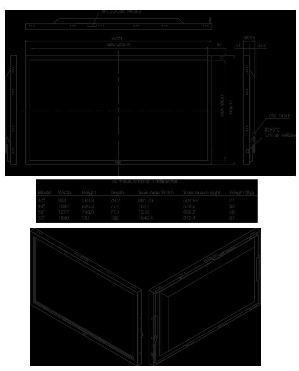NEC-P-Series-dimensions